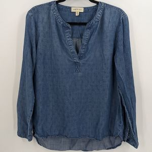 CLOTH & STONE Chambray Split Neck Long Sleeve Top